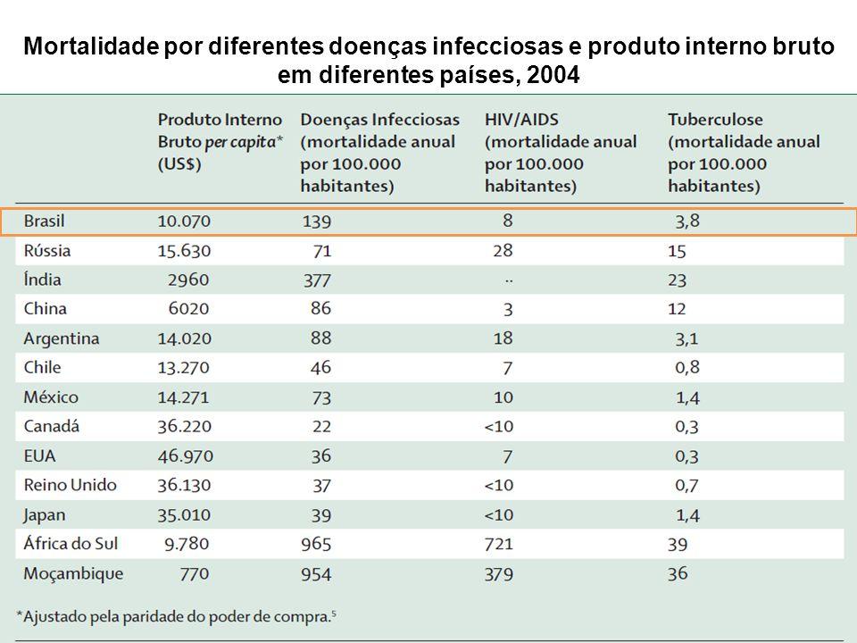 Mortalidade por diferentes doenças infecciosas e produto interno bruto em diferentes países, 2004