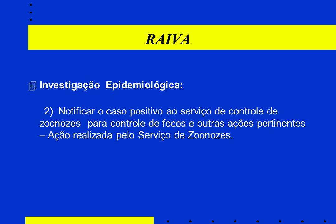 RAIVA  Investigação Epidemiológica: 2) Notificar o caso positivo ao serviço de controle de zoonozes para controle de focos e outras ações pertinentes