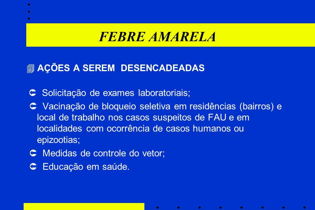 FEBRE AMARELA  AÇÕES A SEREM DESENCADEADAS  Solicitação de exames laboratoriais;  Vacinação de bloqueio seletiva em residências (bairros) e local d