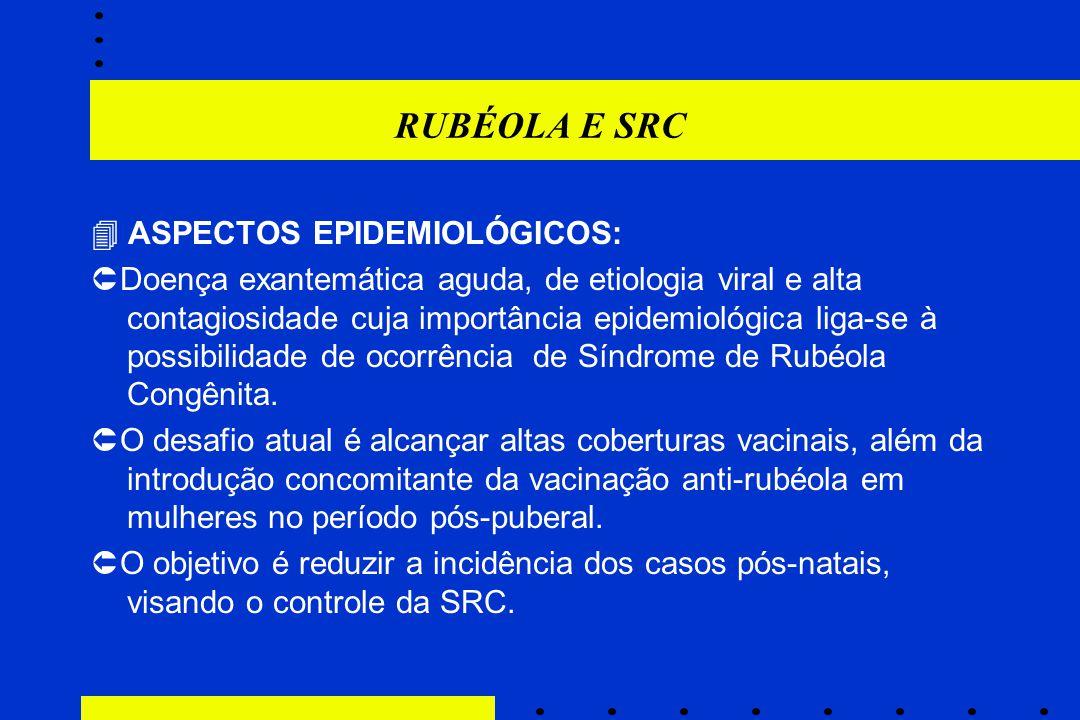 RUBÉOLA E SRC  ASPECTOS EPIDEMIOLÓGICOS:  Doença exantemática aguda, de etiologia viral e alta contagiosidade cuja importância epidemiológica liga-s