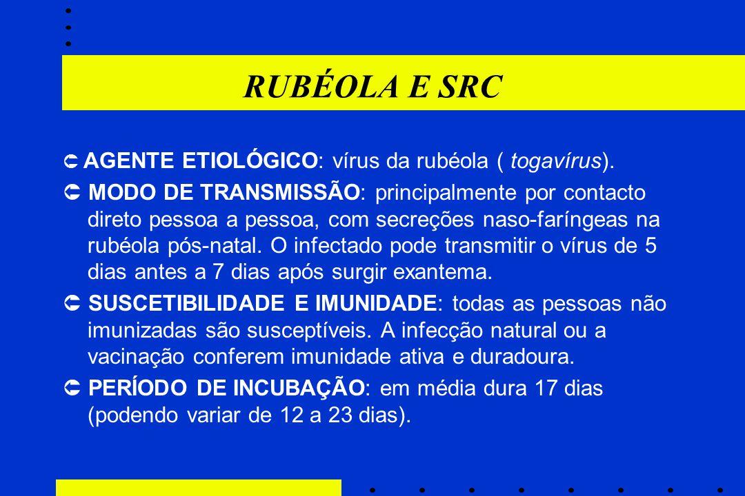 RUBÉOLA E SRC  AGENTE ETIOLÓGICO: vírus da rubéola ( togavírus).  MODO DE TRANSMISSÃO: principalmente por contacto direto pessoa a pessoa, com secre
