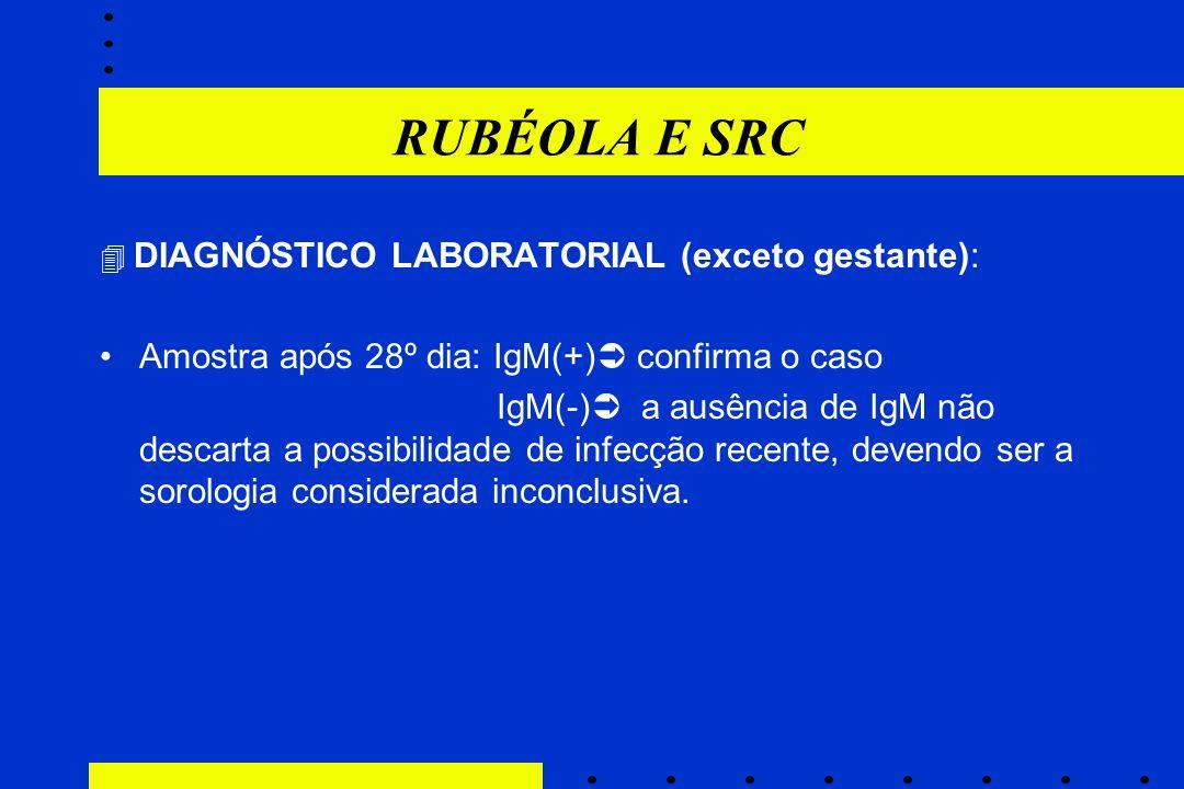 RUBÉOLA E SRC  DIAGNÓSTICO LABORATORIAL (exceto gestante): Amostra após 28º dia: IgM(+)  confirma o caso IgM(-)  a ausência de IgM não descarta a p