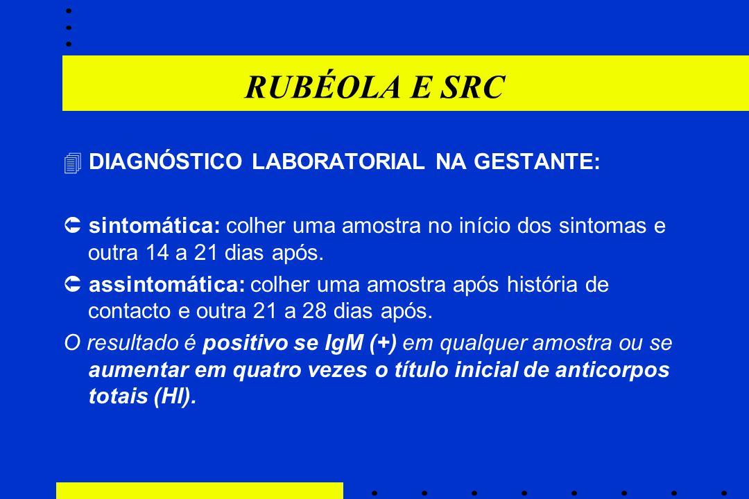 RUBÉOLA E SRC  DIAGNÓSTICO LABORATORIAL NA GESTANTE:  sintomática: colher uma amostra no início dos sintomas e outra 14 a 21 dias após.  assintomát