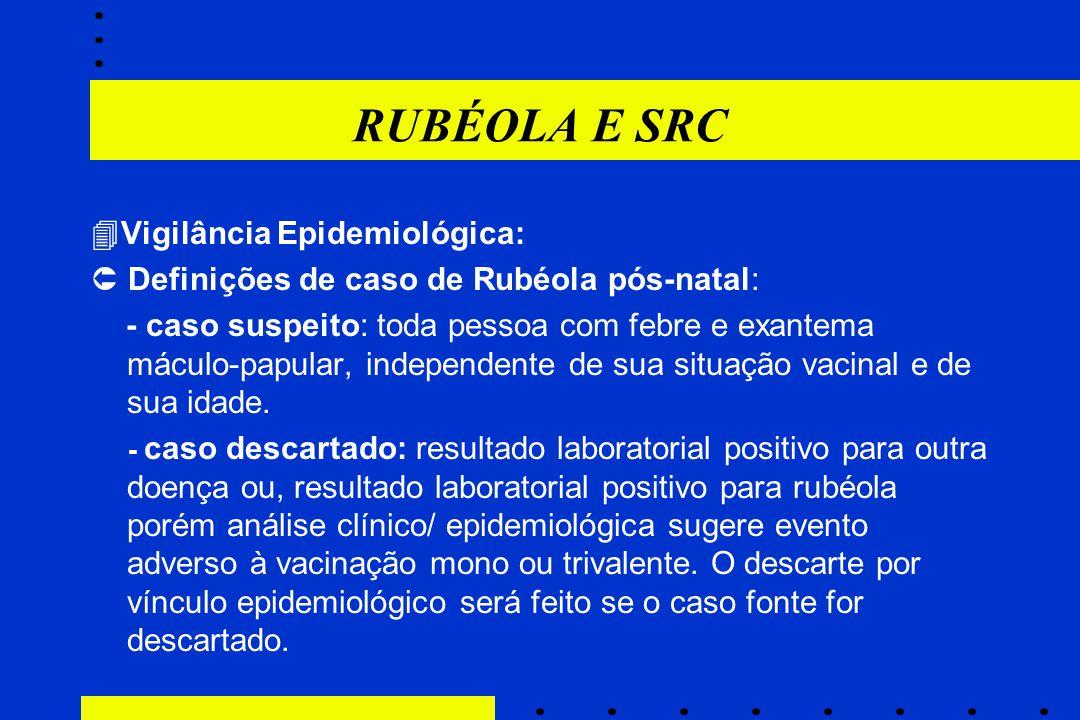 RUBÉOLA E SRC  Vigilância Epidemiológica:  Definições de caso de Rubéola pós-natal: - caso suspeito: toda pessoa com febre e exantema máculo-papular