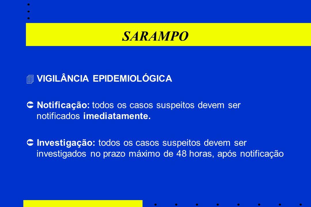SARAMPO  VIGILÂNCIA EPIDEMIOLÓGICA  Notificação: todos os casos suspeitos devem ser notificados imediatamente.  Investigação: todos os casos suspei