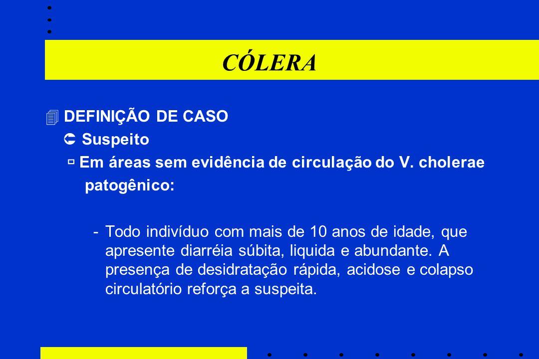 CÓLERA  DEFINIÇÃO DE CASO  Suspeito  Em áreas sem evidência de circulação do V. cholerae patogênico: -Todo indivíduo com mais de 10 anos de idade,