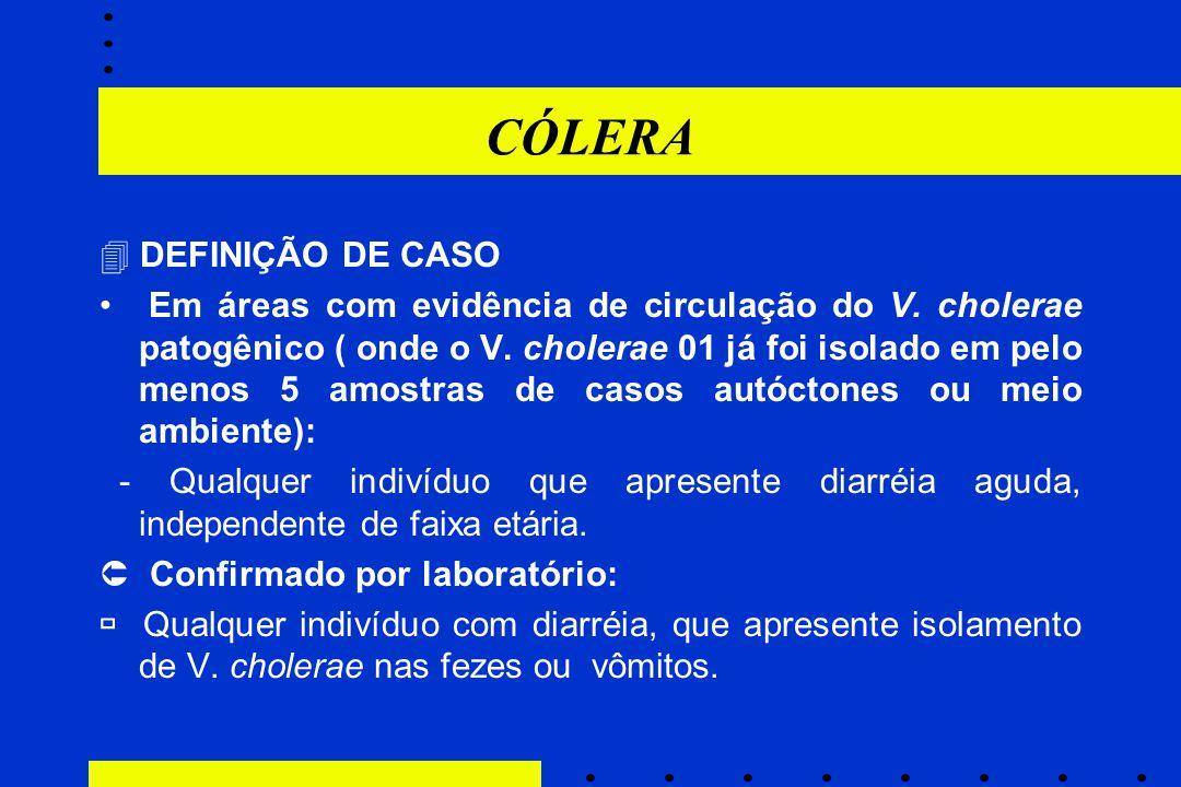 CÓLERA  DEFINIÇÃO DE CASO Em áreas com evidência de circulação do V. cholerae patogênico ( onde o V. cholerae 01 já foi isolado em pelo menos 5 amost