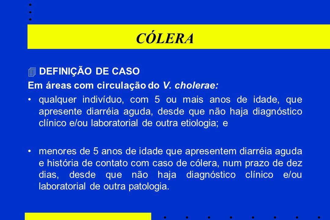 CÓLERA  DEFINIÇÃO DE CASO Em áreas com circulação do V. cholerae: qualquer indivíduo, com 5 ou mais anos de idade, que apresente diarréia aguda, desd