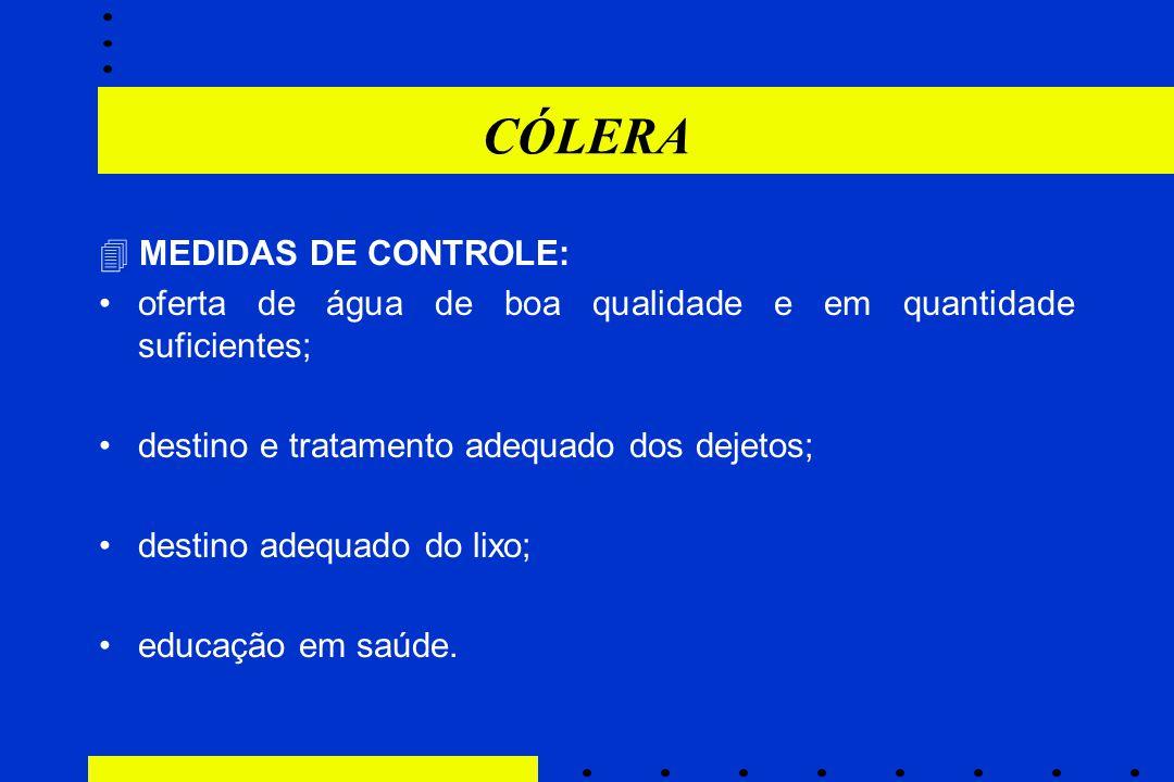 CÓLERA  MEDIDAS DE CONTROLE: oferta de água de boa qualidade e em quantidade suficientes; destino e tratamento adequado dos dejetos; destino adequado