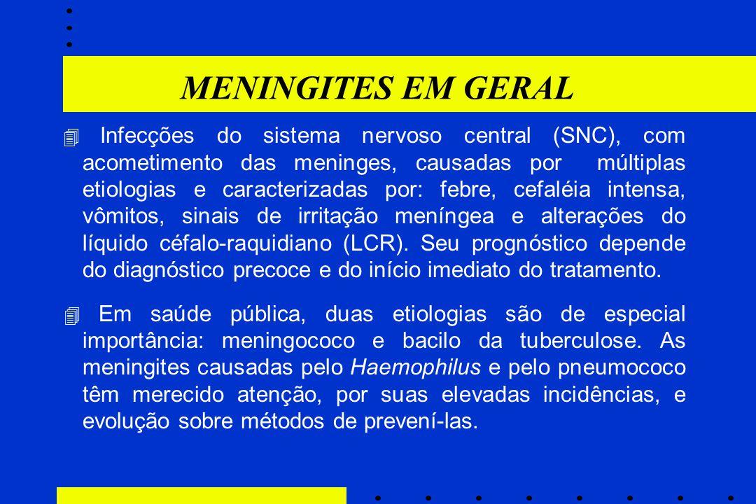 MENINGITES EM GERAL  Infecções do sistema nervoso central (SNC), com acometimento das meninges, causadas por múltiplas etiologias e caracterizadas po