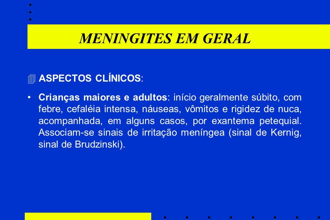 MENINGITES EM GERAL  ASPECTOS CLÍNICOS: Crianças maiores e adultos: início geralmente súbito, com febre, cefaléia intensa, náuseas, vômitos e rigidez
