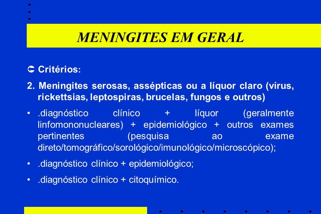 MENINGITES EM GERAL  Critérios : 2. Meningites serosas, assépticas ou a líquor claro (vírus, rickettsias, leptospiras, brucelas, fungos e outros).dia