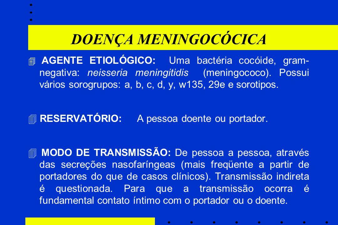 DOENÇA MENINGOCÓCICA  AGENTE ETIOLÓGICO: Uma bactéria cocóide, gram- negativa: neisseria meningitidis (meningococo). Possui vários sorogrupos: a, b,