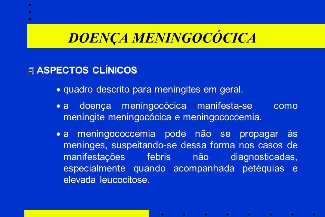 DOENÇA MENINGOCÓCICA  ASPECTOS CLÍNICOS  quadro descrito para meningites em geral.  a doença meningocócica manifesta-se como meningite meningocócic