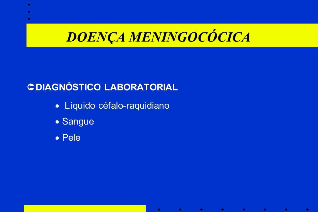 DOENÇA MENINGOCÓCICA  DIAGNÓSTICO LABORATORIAL  Líquido céfalo-raquidiano  Sangue  Pele