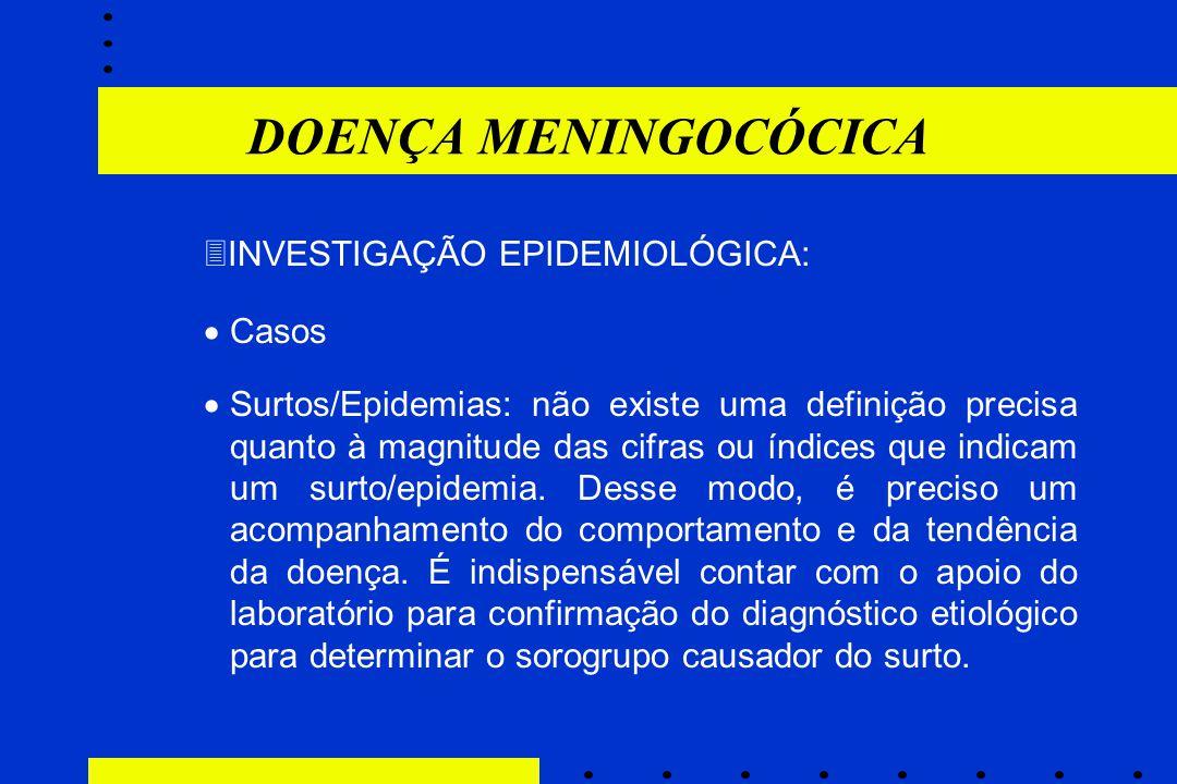  INVESTIGAÇÃO EPIDEMIOLÓGICA:  Casos  Surtos/Epidemias: não existe uma definição precisa quanto à magnitude das cifras ou índices que indicam um su