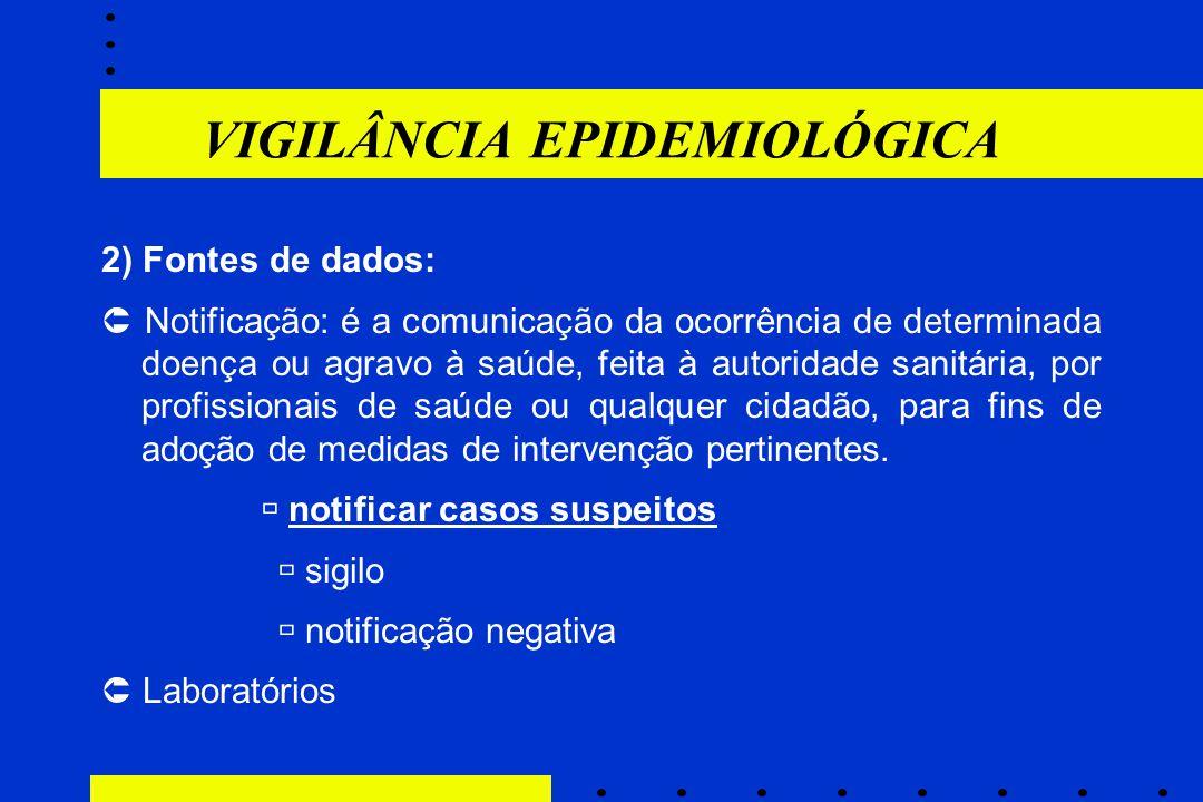 VIGILÂNCIA EPIDEMIOLÓGICA 2) Fontes de dados:  Notificação: é a comunicação da ocorrência de determinada doença ou agravo à saúde, feita à autoridade