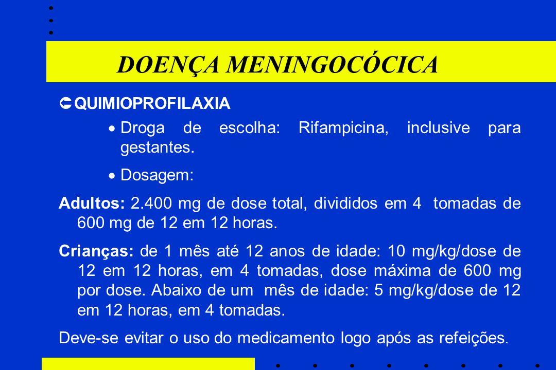  QUIMIOPROFILAXIA  Droga de escolha: Rifampicina, inclusive para gestantes.  Dosagem: Adultos: 2.400 mg de dose total, divididos em 4 tomadas de 60
