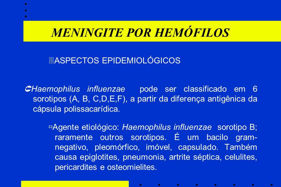 MENINGITE POR HEMÓFILOS  ASPECTOS EPIDEMIOLÓGICOS  Haemophilus influenzae pode ser classificado em 6 sorotipos (A, B, C,D,E,F), a partir da diferenç
