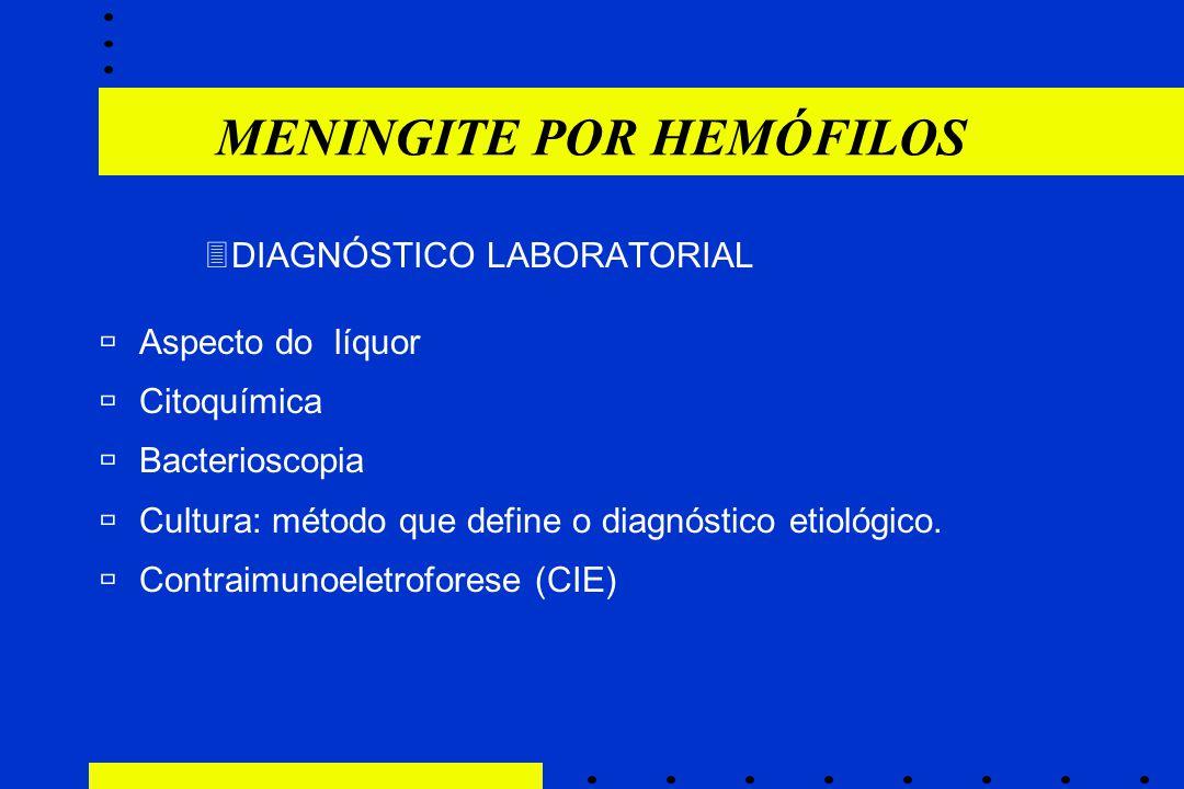 3DIAGNÓSTICO LABORATORIAL ùAspecto do líquor ùCitoquímica ùBacterioscopia ùCultura: método que define o diagnóstico etiológico.  Contraimunoeletrofor