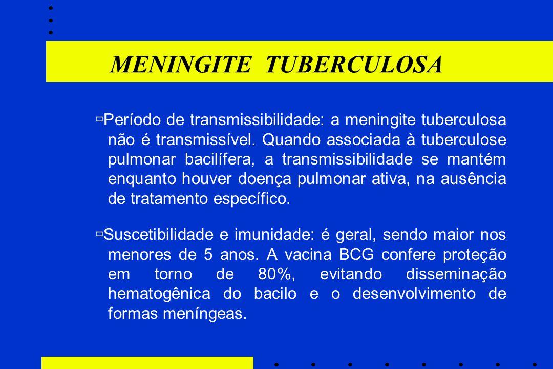  Período de transmissibilidade: a meningite tuberculosa não é transmissível. Quando associada à tuberculose pulmonar bacilífera, a transmissibilidade