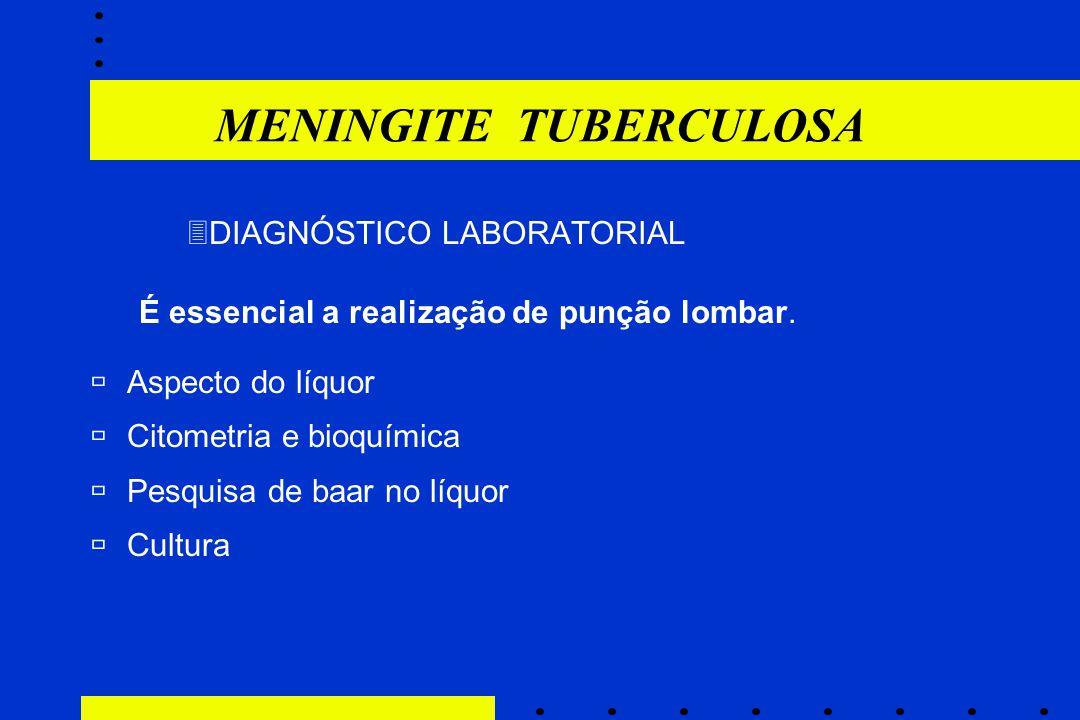  DIAGNÓSTICO LABORATORIAL É essencial a realização de punção lombar. ùAspecto do líquor ùCitometria e bioquímica ùPesquisa de baar no líquor ùCultura