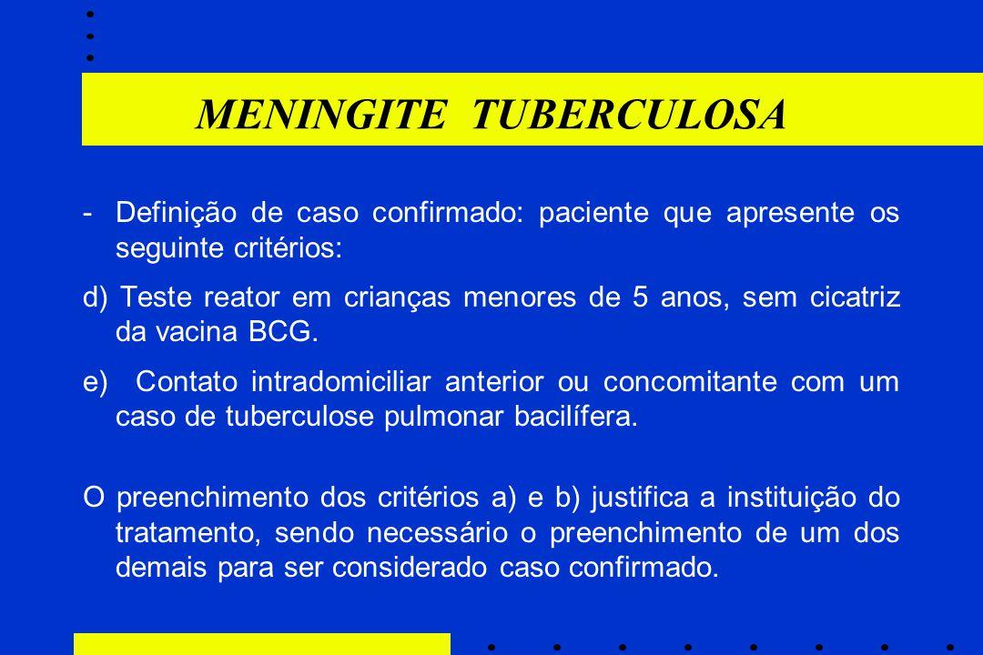 -Definição de caso confirmado: paciente que apresente os seguinte critérios: d) Teste reator em crianças menores de 5 anos, sem cicatriz da vacina BCG