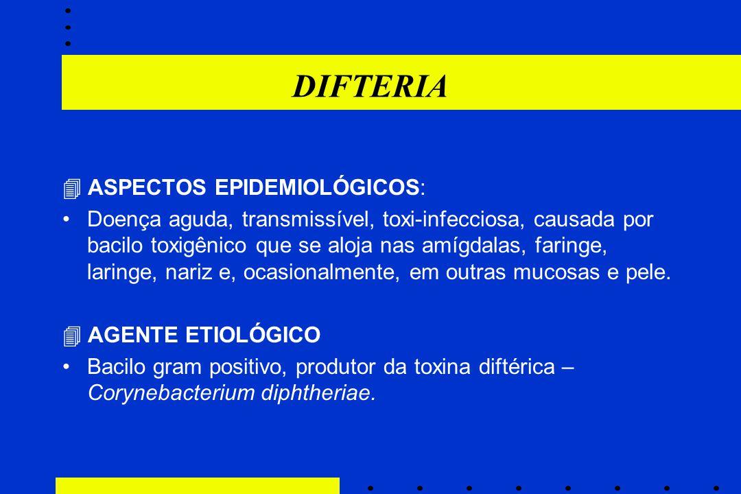 DIFTERIA  ASPECTOS EPIDEMIOLÓGICOS: Doença aguda, transmissível, toxi-infecciosa, causada por bacilo toxigênico que se aloja nas amígdalas, faringe,