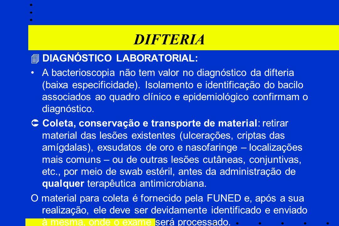 DIFTERIA  DIAGNÓSTICO LABORATORIAL: A bacterioscopia não tem valor no diagnóstico da difteria (baixa especificidade). Isolamento e identificação do b
