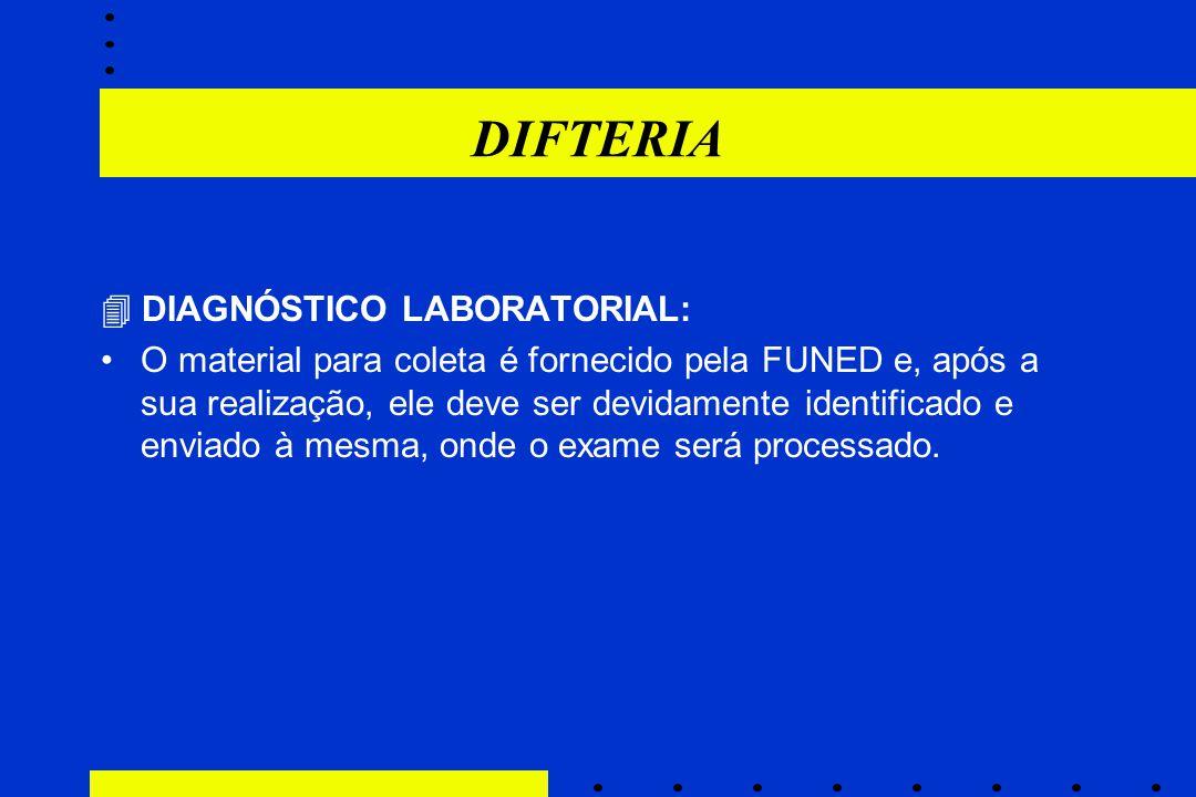 DIFTERIA  DIAGNÓSTICO LABORATORIAL: O material para coleta é fornecido pela FUNED e, após a sua realização, ele deve ser devidamente identificado e e