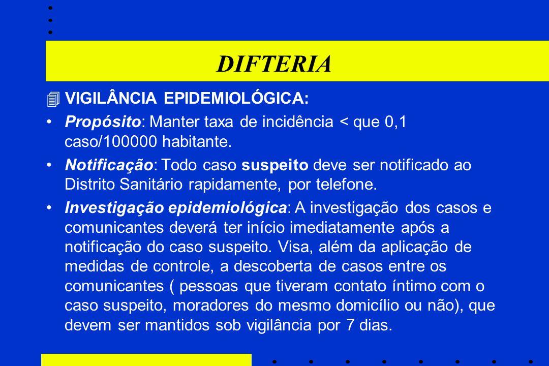 DIFTERIA  VIGILÂNCIA EPIDEMIOLÓGICA: Propósito: Manter taxa de incidência < que 0,1 caso/100000 habitante. Notificação: Todo caso suspeito deve ser n