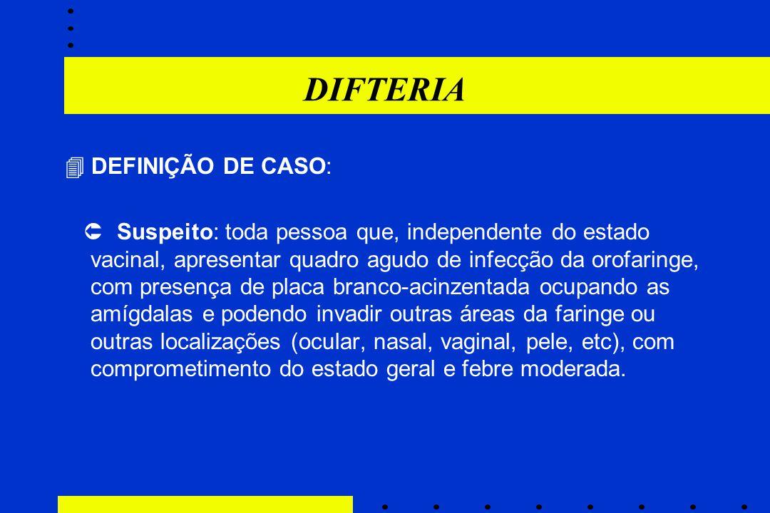 DIFTERIA  DEFINIÇÃO DE CASO:  Suspeito: toda pessoa que, independente do estado vacinal, apresentar quadro agudo de infecção da orofaringe, com pres