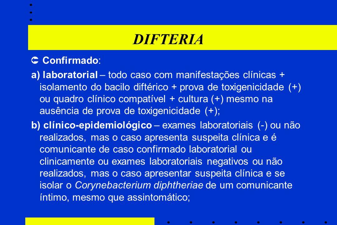 DIFTERIA  Confirmado: a) laboratorial – todo caso com manifestações clínicas + isolamento do bacilo diftérico + prova de toxigenicidade (+) ou quadro