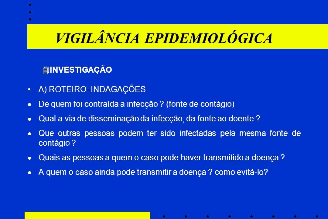 VIGILÂNCIA EPIDEMIOLÓGICA  INVESTIGAÇÃO A) ROTEIRO- INDAGAÇÕES  De quem foi contraída a infecção ? (fonte de contágio)  Qual a via de disseminação
