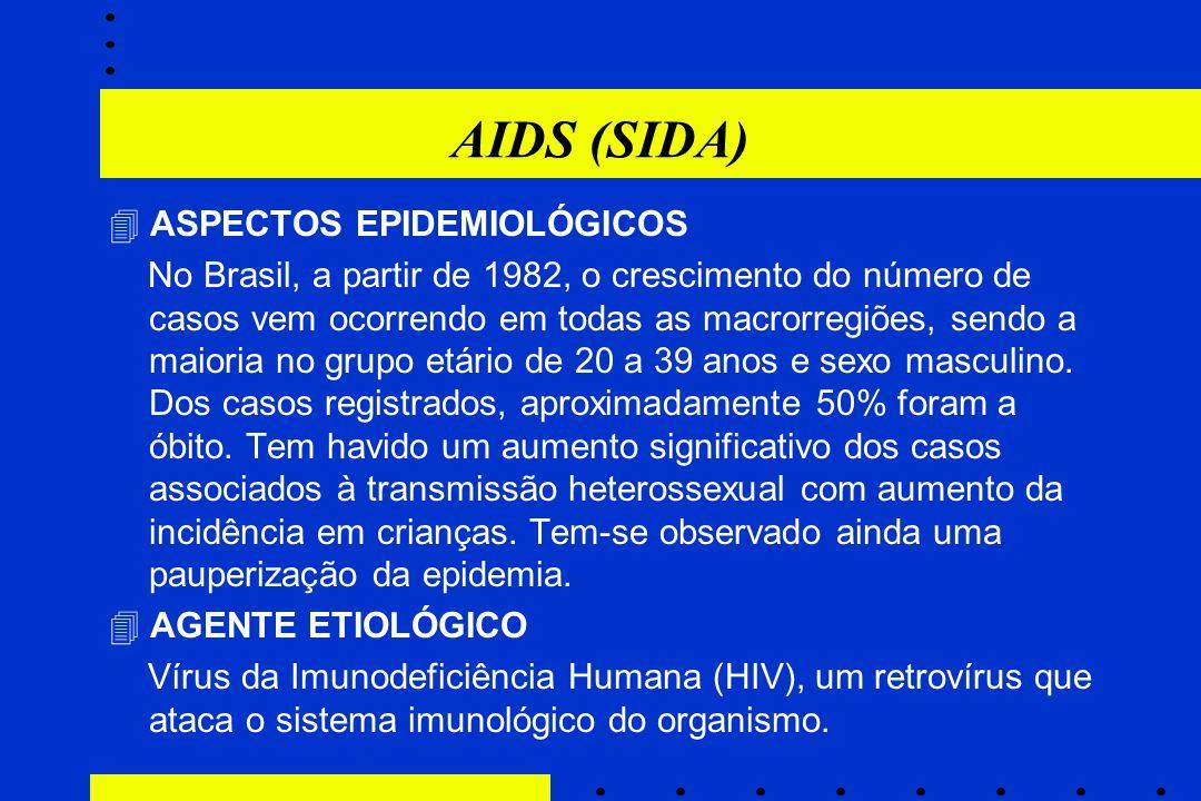 AIDS (SIDA)  ASPECTOS EPIDEMIOLÓGICOS No Brasil, a partir de 1982, o crescimento do número de casos vem ocorrendo em todas as macrorregiões, sendo a