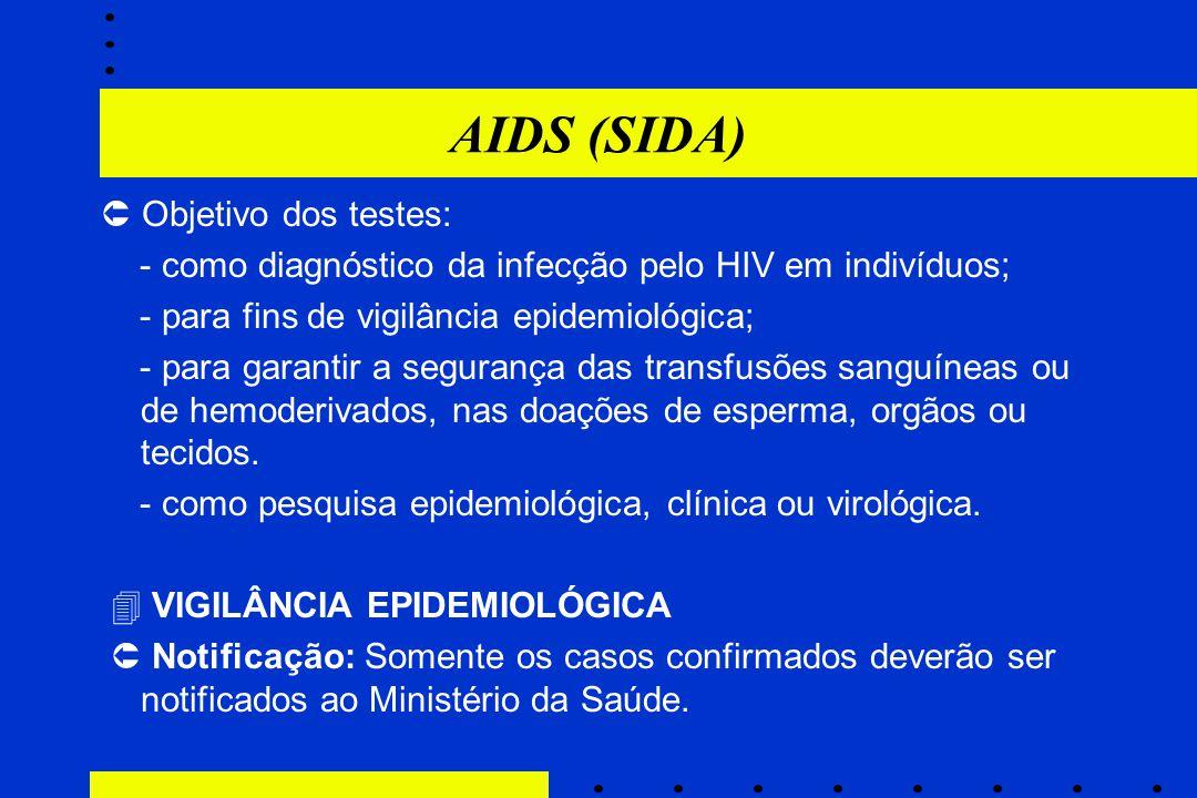 AIDS (SIDA)  Objetivo dos testes: - como diagnóstico da infecção pelo HIV em indivíduos; - para fins de vigilância epidemiológica; - para garantir a