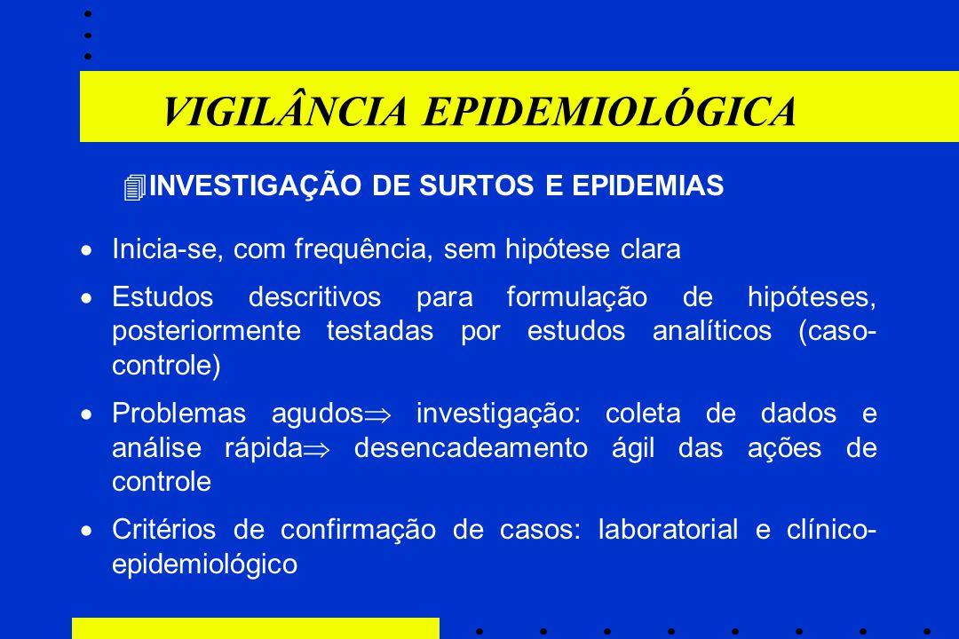VIGILÂNCIA EPIDEMIOLÓGICA  INVESTIGAÇÃO DE SURTOS E EPIDEMIAS  Inicia-se, com frequência, sem hipótese clara  Estudos descritivos para formulação d