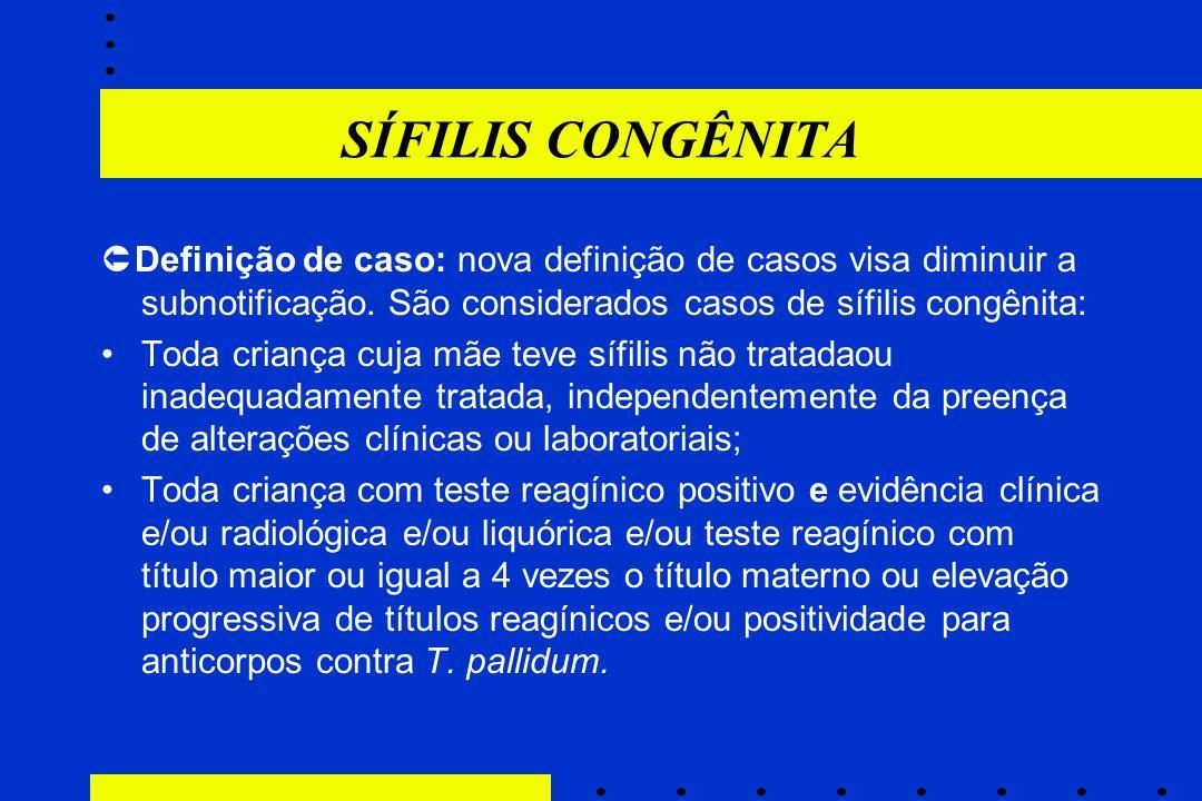 SÍFILIS CONGÊNITA  Definição de caso: nova definição de casos visa diminuir a subnotificação. São considerados casos de sífilis congênita: Toda crian