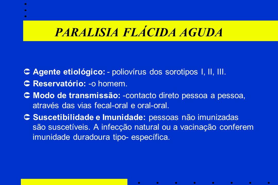 PARALISIA FLÁCIDA AGUDA  Agente etiológico: - poliovírus dos sorotipos I, II, III.  Reservatório: -o homem.  Modo de transmissão: -contacto direto