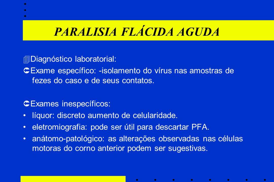PARALISIA FLÁCIDA AGUDA  Diagnóstico laboratorial:  Exame específico: -isolamento do vírus nas amostras de fezes do caso e de seus contatos.  Exame
