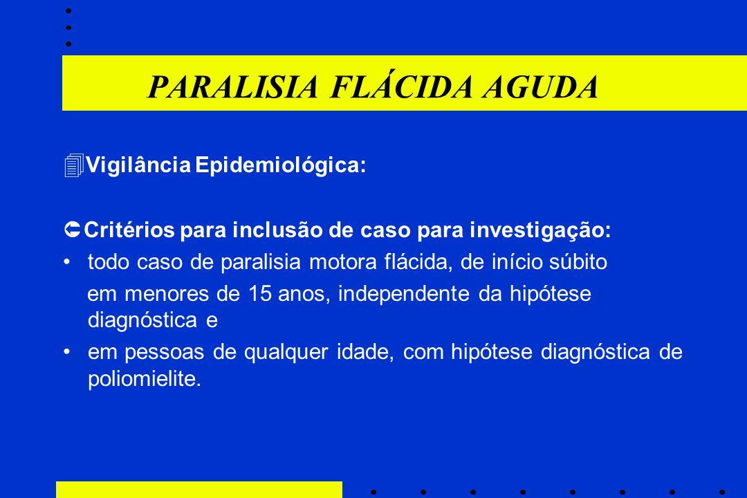 PARALISIA FLÁCIDA AGUDA  Vigilância Epidemiológica:  Critérios para inclusão de caso para investigação: todo caso de paralisia motora flácida, de in