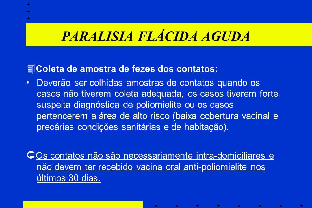 PARALISIA FLÁCIDA AGUDA  Coleta de amostra de fezes dos contatos: Deverão ser colhidas amostras de contatos quando os casos não tiverem coleta adequa