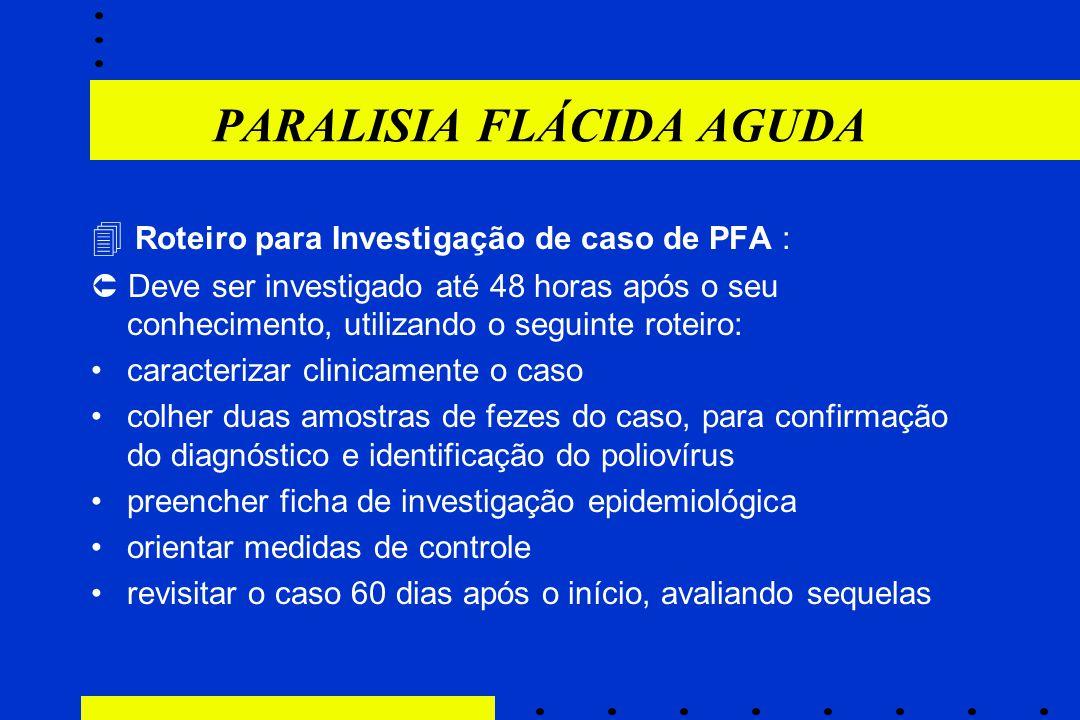 PARALISIA FLÁCIDA AGUDA  Roteiro para Investigação de caso de PFA :  Deve ser investigado até 48 horas após o seu conhecimento, utilizando o seguint