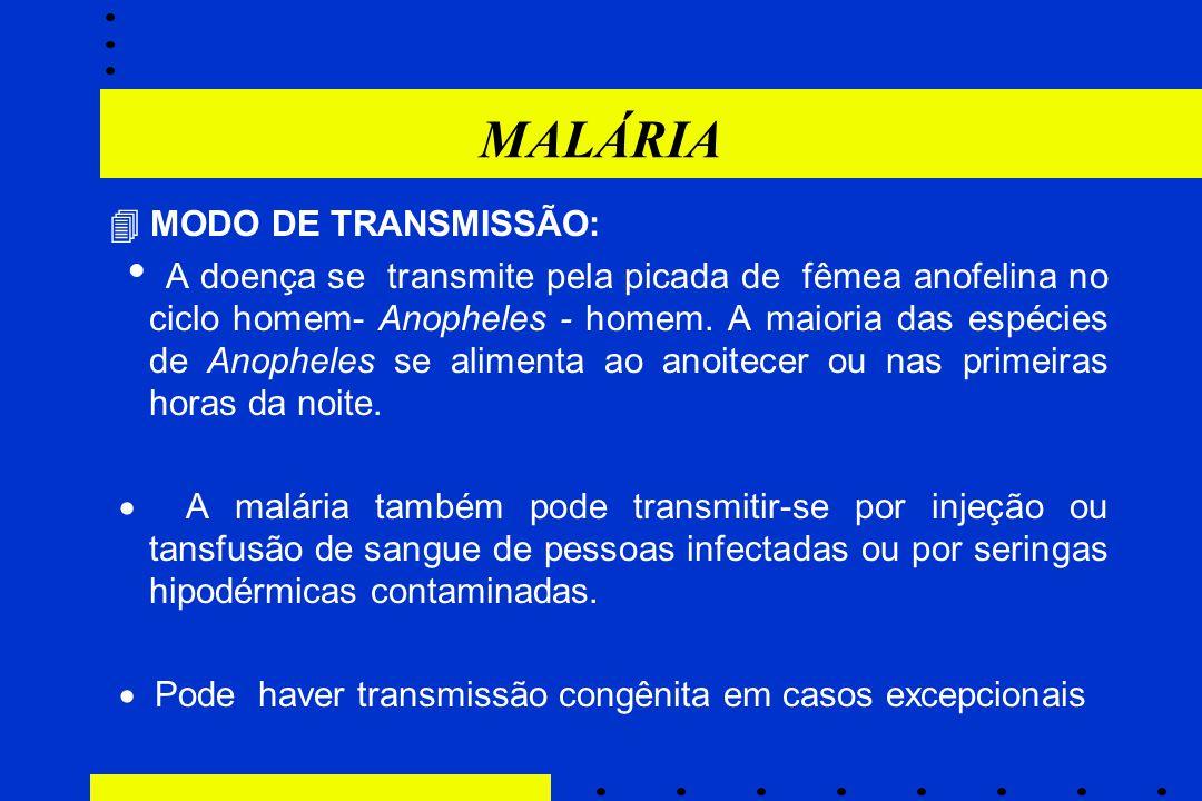 MALÁRIA  MODO DE TRANSMISSÃO:  A doença se transmite pela picada de fêmea anofelina no ciclo homem- Anopheles - homem. A maioria das espécies de Ano