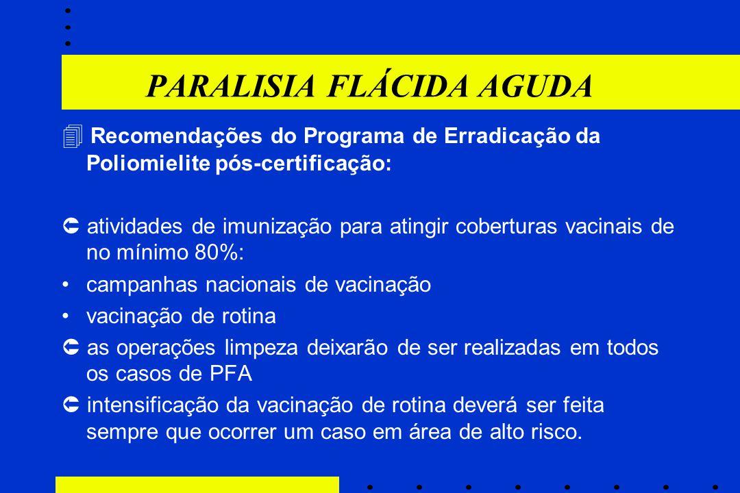 PARALISIA FLÁCIDA AGUDA  Recomendações do Programa de Erradicação da Poliomielite pós-certificação:  atividades de imunização para atingir cobertura