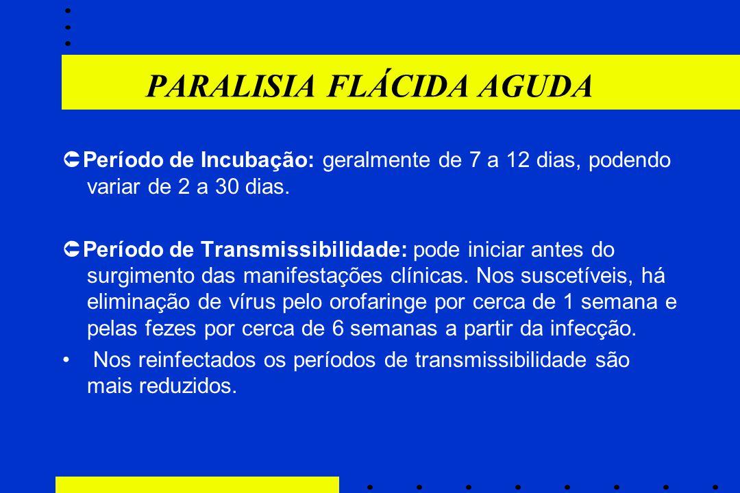 PARALISIA FLÁCIDA AGUDA  Período de Incubação: geralmente de 7 a 12 dias, podendo variar de 2 a 30 dias.  Período de Transmissibilidade: pode inicia