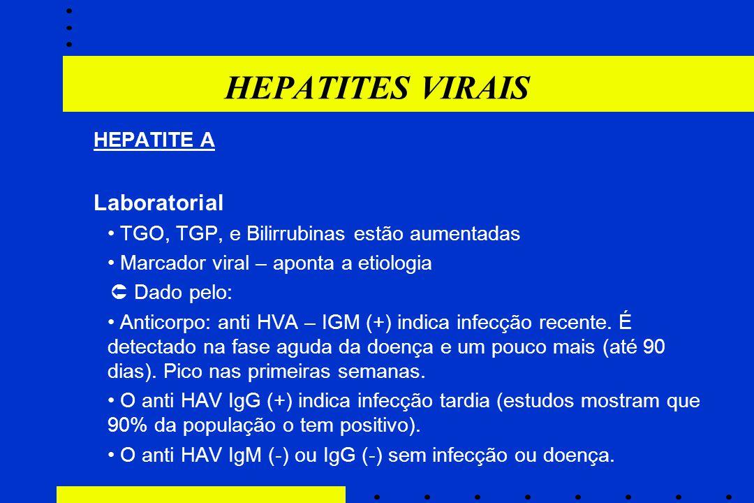 HEPATITES VIRAIS HEPATITE A Laboratorial TGO, TGP, e Bilirrubinas estão aumentadas Marcador viral – aponta a etiologia  Dado pelo:  Anticorpo: anti