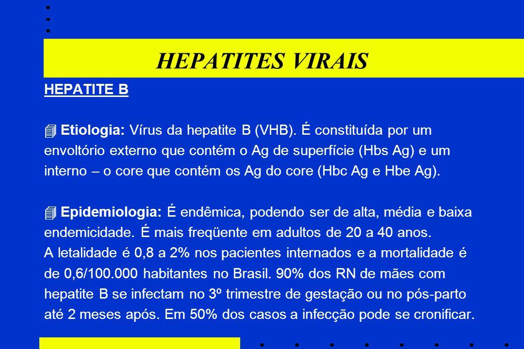 HEPATITES VIRAIS HEPATITE B  Etiologia: Vírus da hepatite B (VHB). É constituída por um envoltório externo que contém o Ag de superfície (Hbs Ag) e u