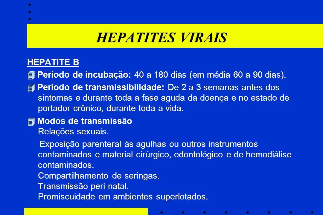 HEPATITES VIRAIS HEPATITE B  Período de incubação: 40 a 180 dias (em média 60 a 90 dias).  Período de transmissibilidade: De 2 a 3 semanas antes dos
