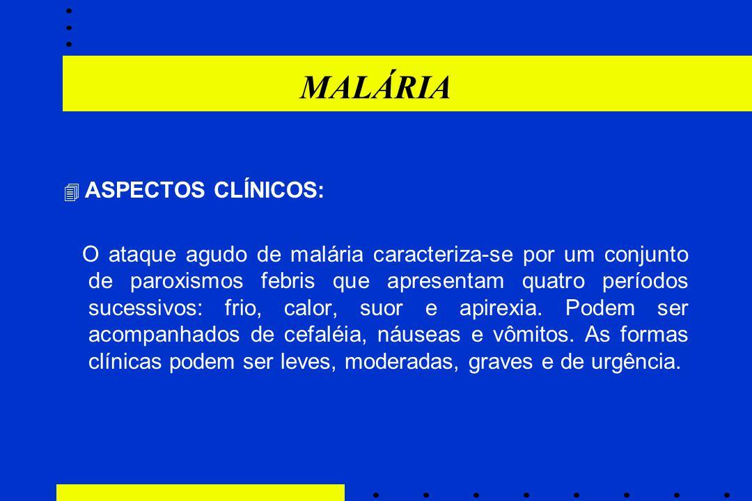 MALÁRIA  ASPECTOS CLÍNICOS: O ataque agudo de malária caracteriza-se por um conjunto de paroxismos febris que apresentam quatro períodos sucessivos: